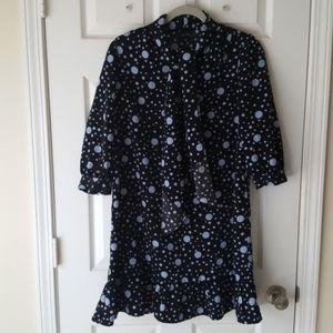 Black and blue polka dot puffer sleeve dress